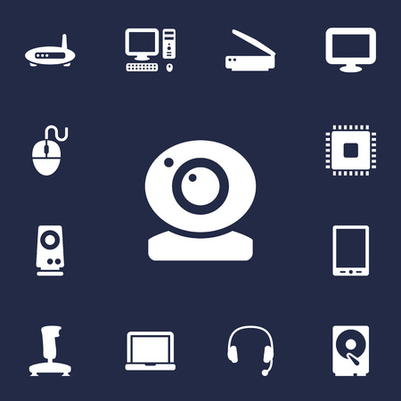 adsl: Set Of 13 Laptop Icons Set.Collection Of Photocopy, Joystick, Control Device And Other Elements. Illustration