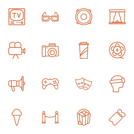 comedy: Set Of 16 Pleasure Outline Icons Set.Collection Of Bullhorn, Film Role, Ice Cream And Other Elements.