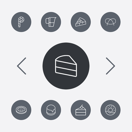 Set Of 9 Stove Outline Icons Set.Collection Of Cheesecake, Donuts, Candy Cane Elements.