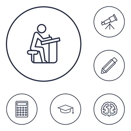 Set Of 6 Science Outline Icons Set.Collection Of Calculator, Telescope, Brain And Other Elements.