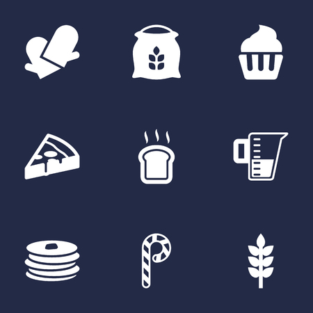 Set Of 9 Cook Icons Set.Collection Of Pepperoni, Muffin, Sack And Other Elements. Illustration