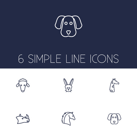 Set Of 6 Brute Outline Icons Set.Collection Of Horse, Giraffe, Sheep And Other Elements.