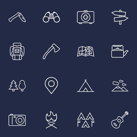 Set Of 16 Outdoor Outline Icons Set.Collection Of Guidepost, Medical Kit, Encampment And Other Elements.