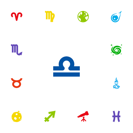 Set Of 13 Galaxy Icons Set.Collection Of Scales, Archer, Ram And Other Elements.