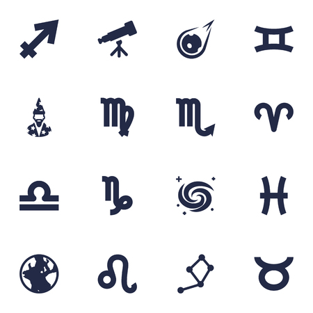 astrologer: Set Of 16 Astronomy Icons Set.Collection Of Augur, Scales, Ram And Other Elements. Illustration