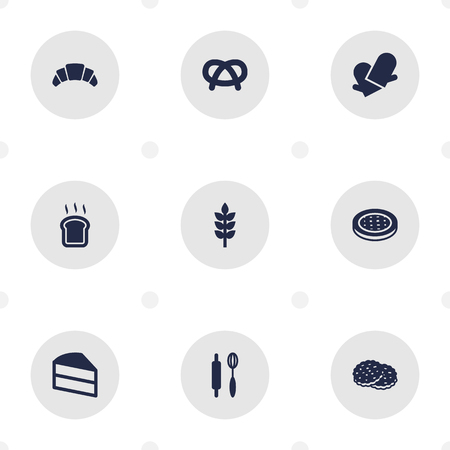 Set Of 9  Icons Set.Collection Of Pastry, Snack, Potholders And Other Elements.