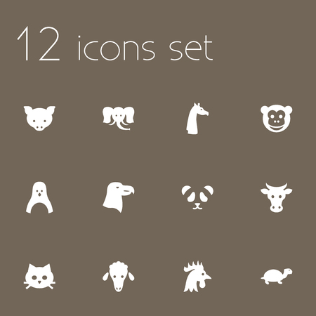 kine: Set Of 12 Alive Icons Set.Collection Of Lamb, Bear, Rooster And Other Elements.