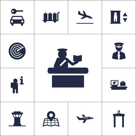 documentation: Set Of 13 Land Icons Set.Collection Of Security, Aviator, Radiolocator And Other Elements.