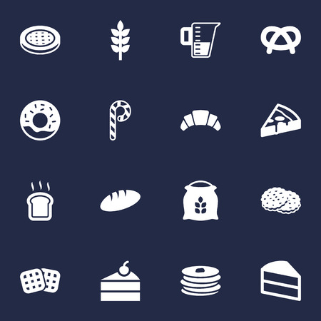 Set Of 16 Bakery Icons Set.Collection Of Striped Lollipop, Crepe, Sack And Other Elements.