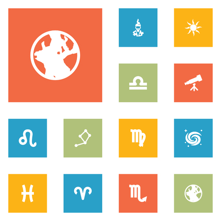 Set Of 12 Horoscope Icons Set.Collection Of Lion, Ram, Binoculars And Other Elements. Illustration