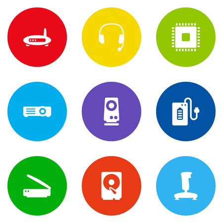 Set Of 9 Laptop Icons Set.Collection Of Photocopy, Headset, Hard Disk And Other Elements.