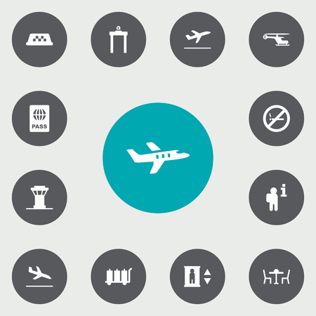 packet driver: Set Of 13 Airplane Icons Set.Collection Of Cab, Data, Lift And Other Elements.