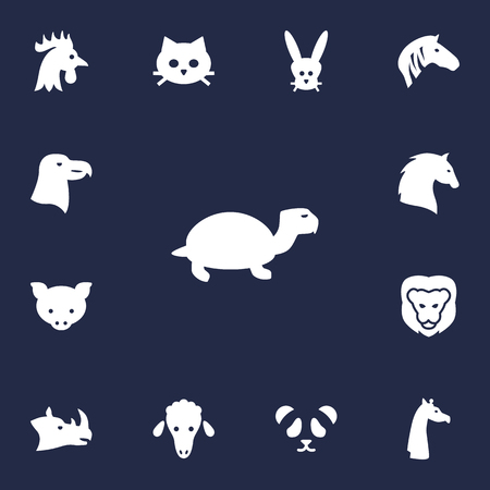 Set Of 13 Alive Icons Set.Collection Of Wildcat, Lamb, Bunny And Other Elements. Illustration