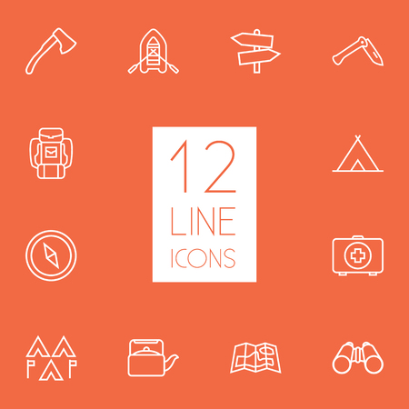hiking: Set Of 12 Picnic Outline Icons Set.Collection Of Binoculars, Ax, Rubber Boat And Other Elements. Illustration