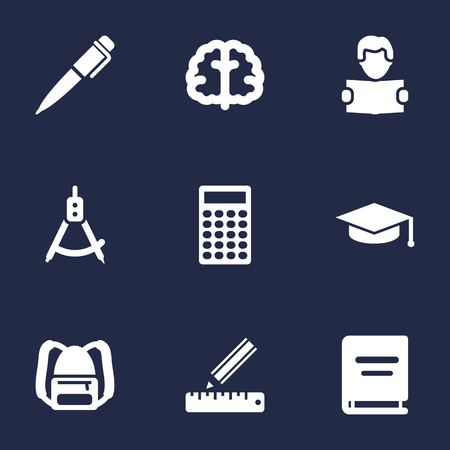 size: Set Of 9 Education Icons Set.Collection Of Academic Hat, Calculate, Marrow And Other Elements. Illustration