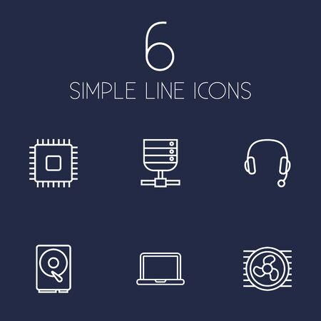 Set Of 6 Laptop Outline Icons Set.Collection Of Hdd, Headphone, Server And Other Elements.