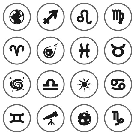 Set Of 16 Astronomy Icons Set.Collection Of Space, Bull, Scales And Other Elements.