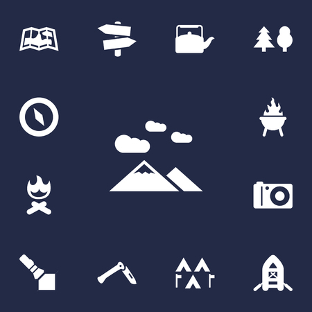 13: Set Of 13 Camping Icons Set.Collection Of Signpost, Flashlight, Tree And Other Elements.