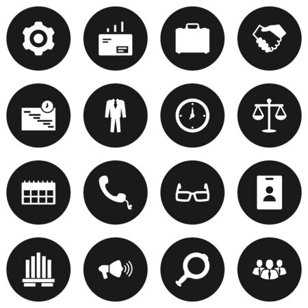vision repair: Set Of 16 Employment Icons Set.Collection Of Telephone, Speaker, Building And Other Elements. Illustration