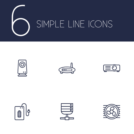 Set Of 6 Laptop Outline Icons Set.Collection Of Projector, Server, Powerbank And Other Elements.