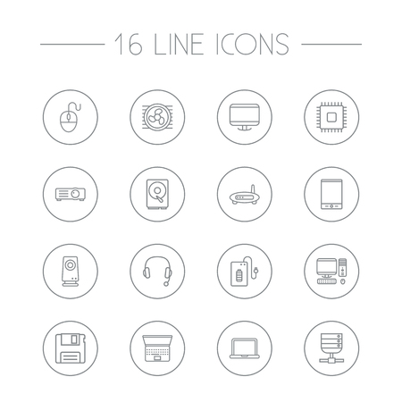 Set Of 16 Computer Outline Icons Set.Collection Of Powerbank, Cooler, Floppy And Other Elements.