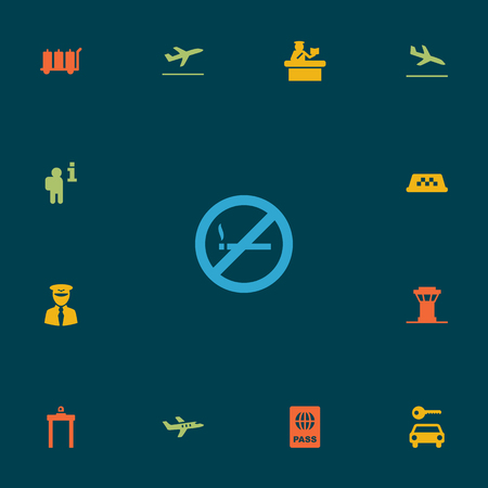 13: Set Of 13 Land Icons Set.Collection Of Aviator, Metal Detector, Air Traffic Controller And Other Elements.