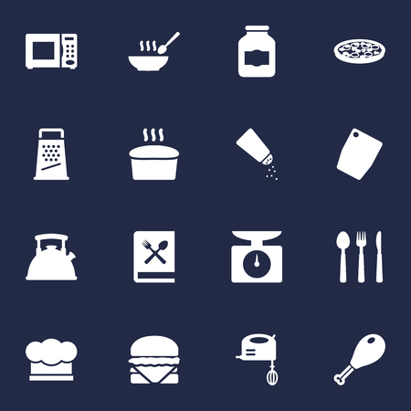 Set Of 16 Kitchen Icons Set.Collection Of Silverware, Broth, Pepperoni And Other Elements.