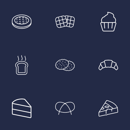 Set Of 9 Cook Outline Icons Set.Collection Of Cookie, Pretzel, Apple Pie And Other Elements.