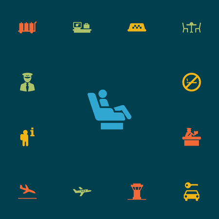 packet driver: Set Of 13 Aircraft Icons Set.Collection Of Carriage, Vip, Aircraft And Other Elements. Illustration
