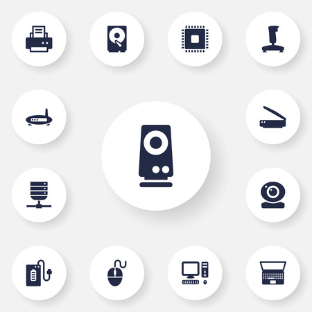 computerized: Set Of 13 Notebook Icons Set.Collection Of Joystick, Control Device, Router And Other Elements. Illustration