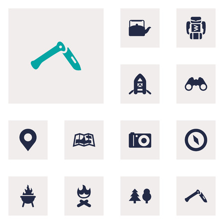Set Of 12 Adventure Icons Set. Collection Of Jackknife, Location, Campfire And Other Elements.