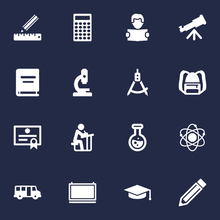 Set Of 16 Education Icons Set. Collection Of Blackboard, Drawing Tool, Molecule And Other Elements. Illustration