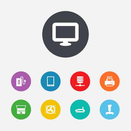 palmtop: Set Of 9 Computer Icons Set. Collection Of Palmtop, Datacenter, Fan And Other Elements. Illustration