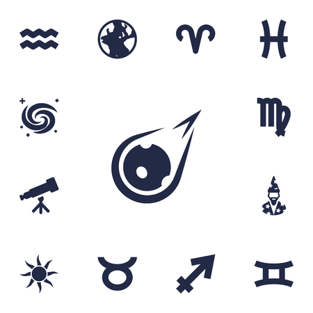 Set Of 13 Astrology Icons Set.Collection Of Ram, Solar, Fishes And Other Elements.