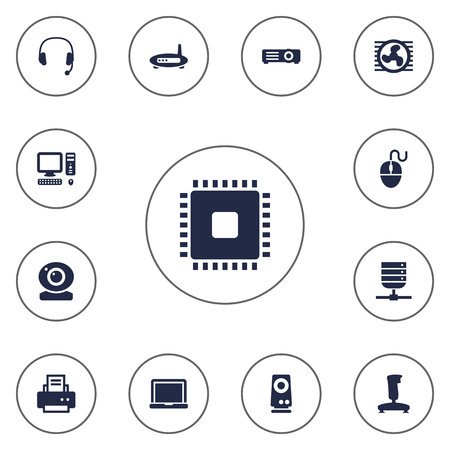 Set Of 13 Laptop Icons Set.Collection Of Laptop, Datacenter, Show And Other Elements.
