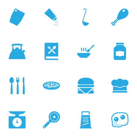broth: Set Of 16 Cooking Icons Set.Collection Of Eggs, Broth, Pepperoni And Other Elements.