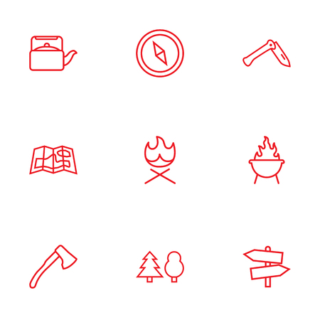 burning paper: Set Of 9 Outdoor Outline Icons Set.Collection Of Grill, Gps, Ax And Other Elements.
