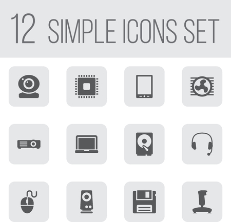 palmtop: Set Of 12 Computer Icons Set.Collection Of Palmtop, Joystick, Record And Other Elements.