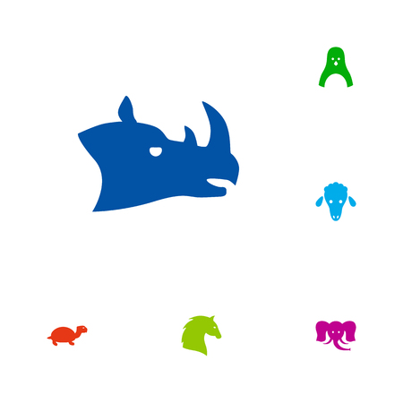 horse fish: Set Of 6 Beast Icons Set.Collection Of Lamb, Diver, Trunked Animal And Other Elements.