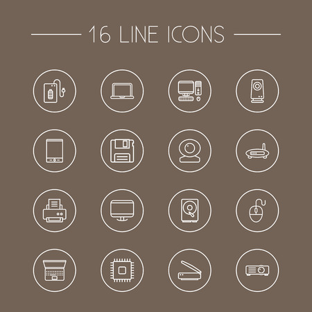 hdtv: Set Of 16 Laptop Outline Icons Set.Collection Of Computer Mouse, Monitor, Powerbank And Other Elements. Illustration
