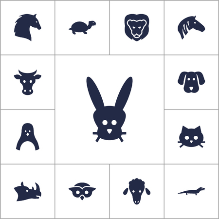 kine: Set Of 13 Beast Icons Set.Collection Of Lamb, Kine, Gecko And Other Elements.