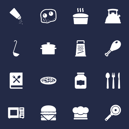 Set Of 16 Cooking Icons Set.Collection Of Saucepan, Eggs, Non-Stick And Other Elements. Illustration