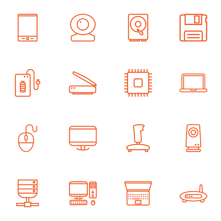 Set Of 16 Laptop Outline Icons Set.Collection Of Gamepad, Powerbank, Server And Other Elements.