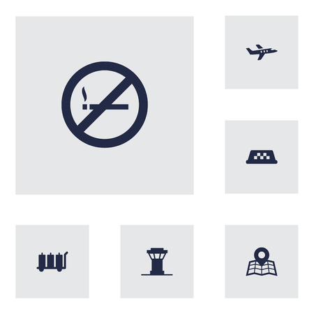 luggage carrier: Set Of 6 Aircraft Icons Set.Collection Of Aircraft, Forbidden, Carriage And Other Elements. Illustration