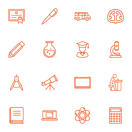 omnibus: Set Of 16 Education Outline Icons Set.Collection Of Brain, Encyclopedia, Test Tube And Other Elements.