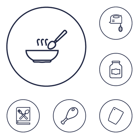 broth: Set Of 6 Kitchen Outline Icons Set.Collection Of Chopping Board, Jug, Soup And Other Elements. Illustration