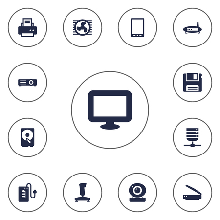 palmtop: Set Of 13 Computer Icons Set.Collection Of Joystick, Show, Palmtop And Other Elements.