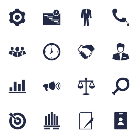 receiver: Set Of 16 Business Icons Set.Collection Of Speaker, Loupe, Diagram And Other Elements. Illustration