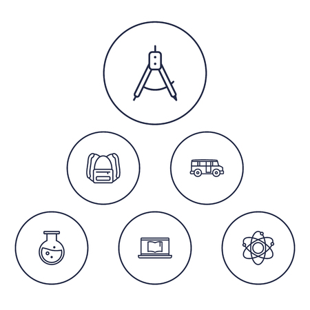 omnibus: Set Of 6 Studies Outline Icons Set.Collection Of Bus, Laptop, Test Tube And Other Elements. Illustration