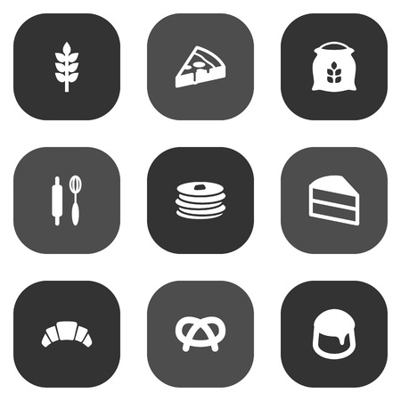 bretzel: Set Of 9 Oven Icons Set.Collection Of Custard, Snack, Pepperoni And Other Elements.